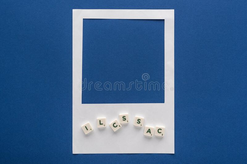 Top view of letters on cubes royalty free stock photos