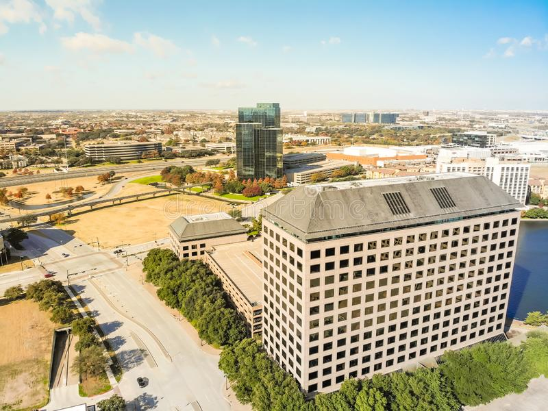 Top view light rail system and skylines in downtown Las Colinas, royalty free stock image