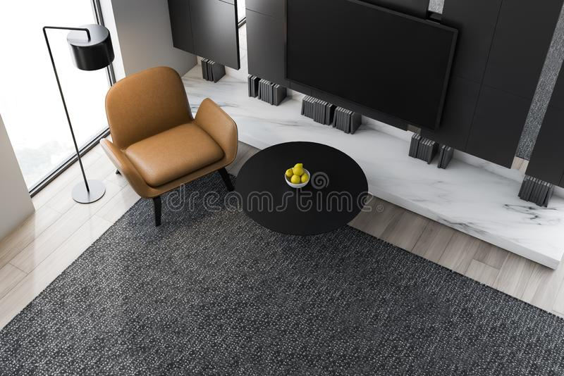Top view of living room with TV and armchair. Top view of minimalistic living room with gray walls, wooden floor, modern TV set with black screen hanging above stock illustration