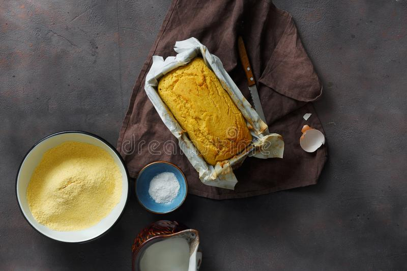 Top view loaf homemade corn bread ingredients cooking bread stock images
