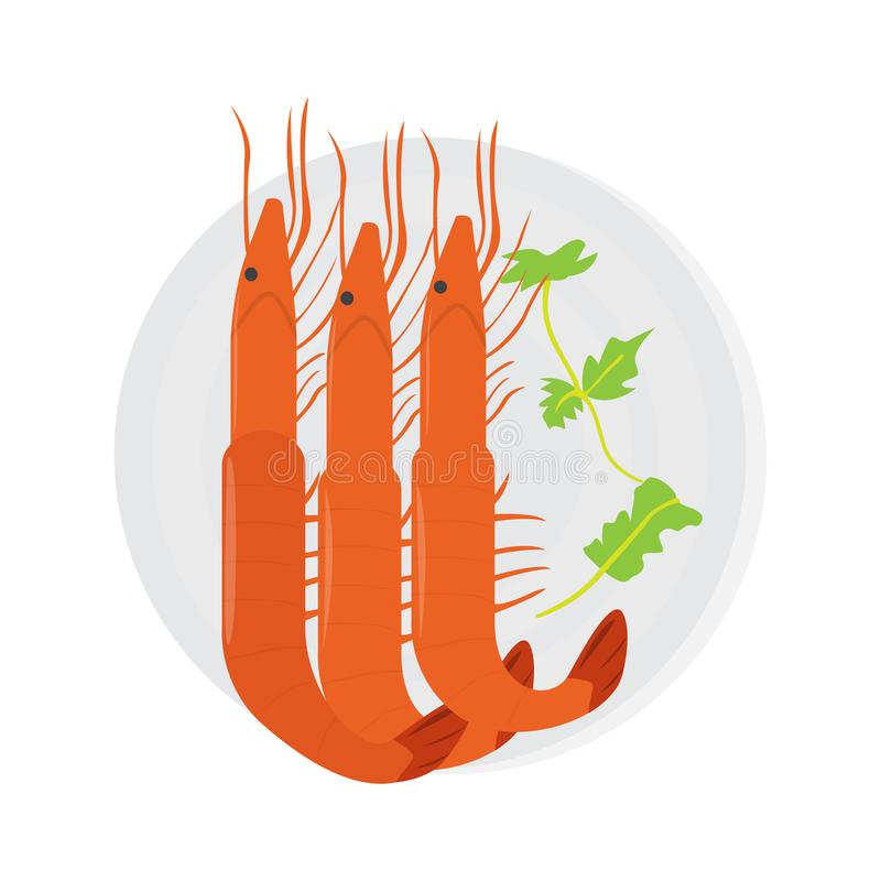 Top view of a locusts on a plate. Vector royalty free illustration