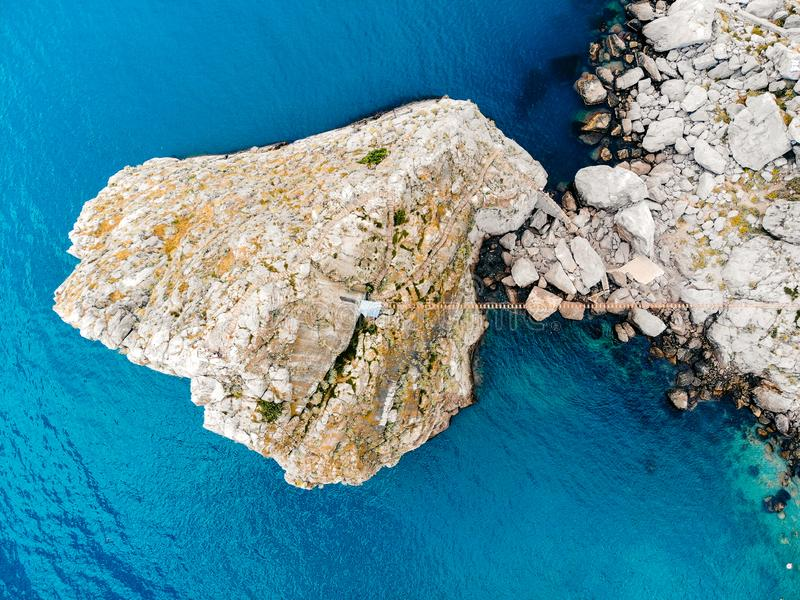 Top view of a lonely rock in the sea, Crimea stock photo