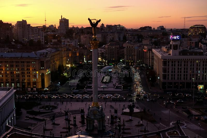 Top view of the Maidan in evening royalty free stock images