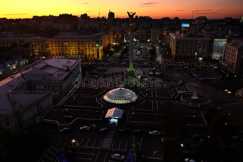 Top view of the Maidan in evening stock images