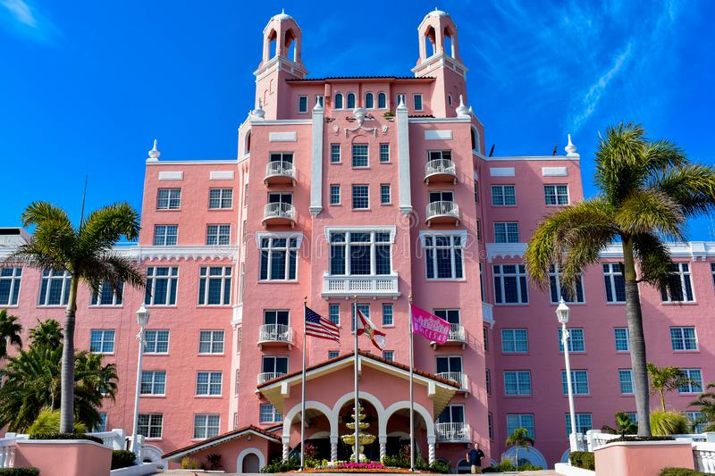 Top view of main entrance in The Don Cesar Hotel. The Legendary Pink Palace of St. Pete Beach of St. Pete Beach at Gulf Coast Bea. St. Pete Beach, Florida stock photography