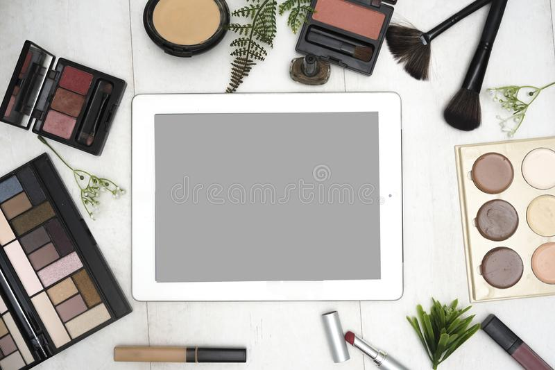Top view make up office desk. Business, developer. royalty free stock image