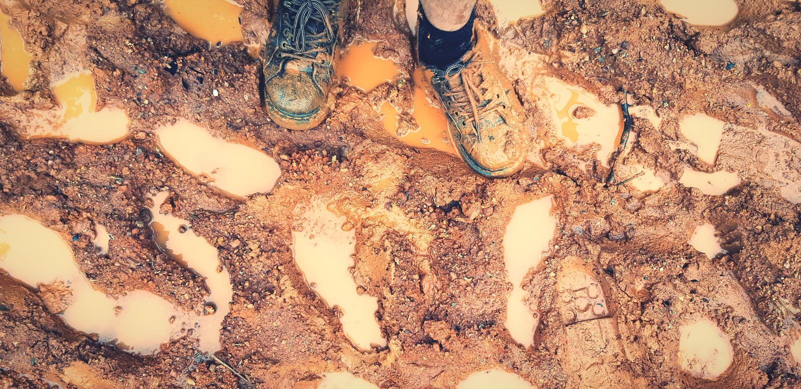 Top view of man legs standing on  brown mud floor filled with many footprint and water after raining day royalty free stock image