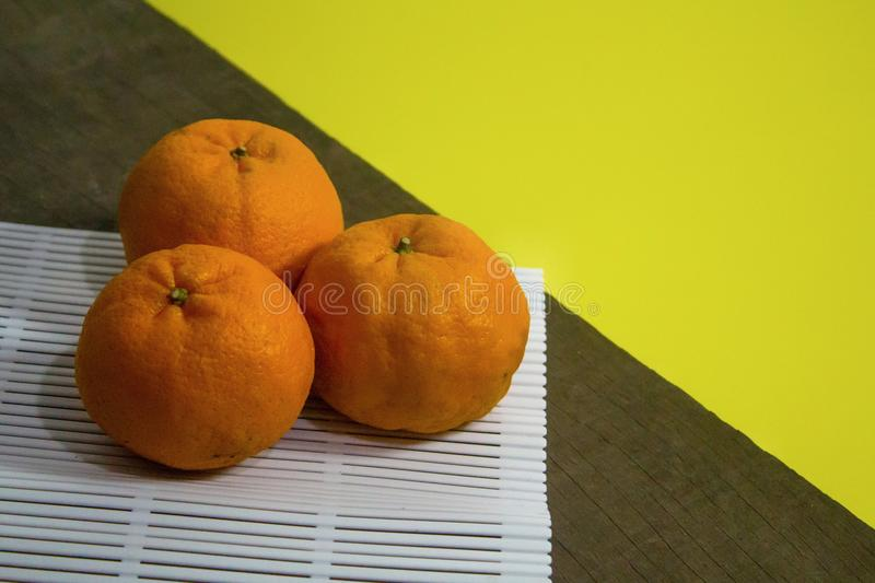 Top view of Mandarin oranges royalty free stock photo