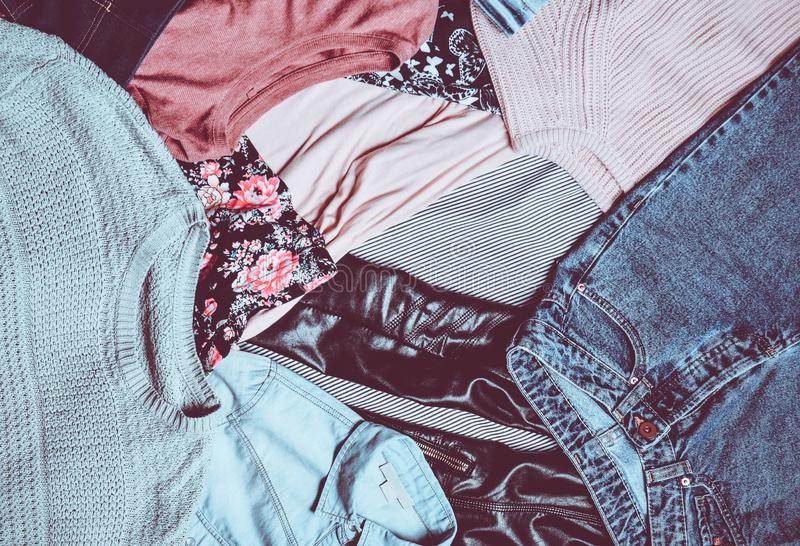 Top view of many different women& x27;s clothing layout. Second hand. stock photos