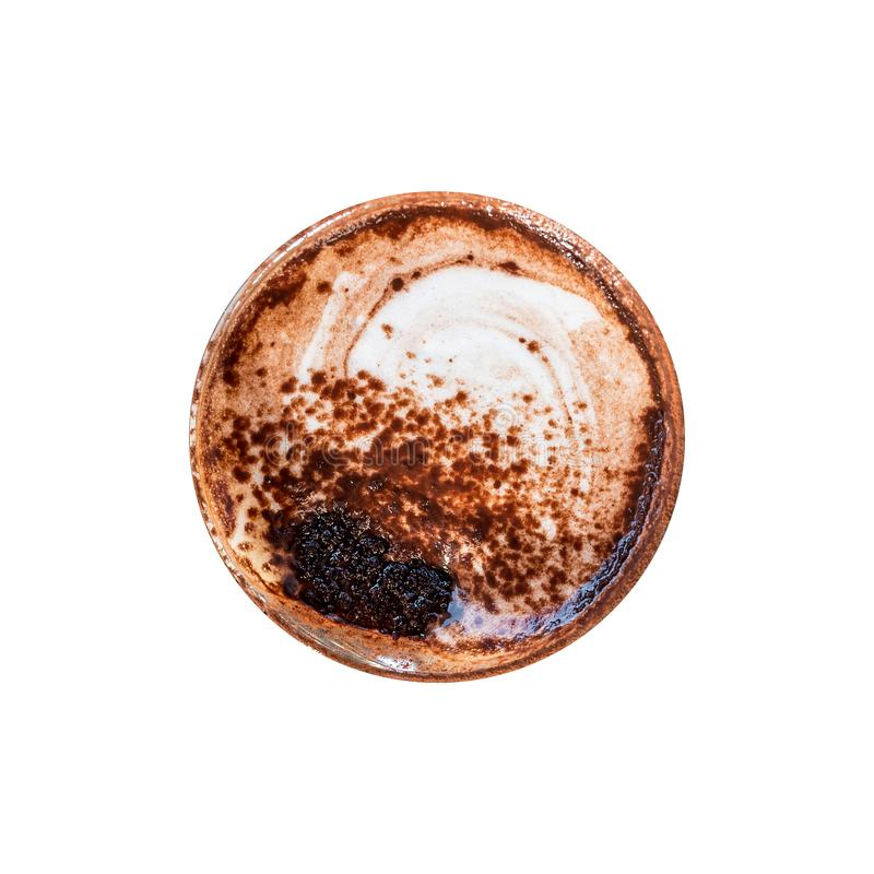 Top view of Marocchino is coffee drink from Alessandria, Italy. Served in a small glass and consists espresso cocoa powder and. Milk froth isolated on white stock photography