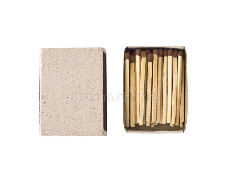 Matchbox with wooden matches sticks isolated royalty free stock photography