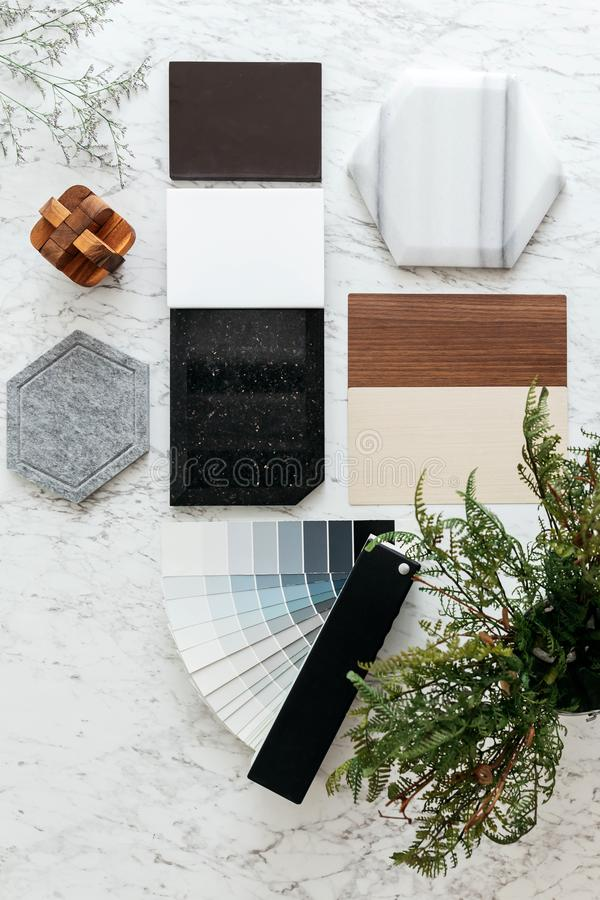 Top view of Material Selections including Granite tile, Marble tile, Acoustic tile, Walnut and Ash Wood Laminate. royalty free stock images