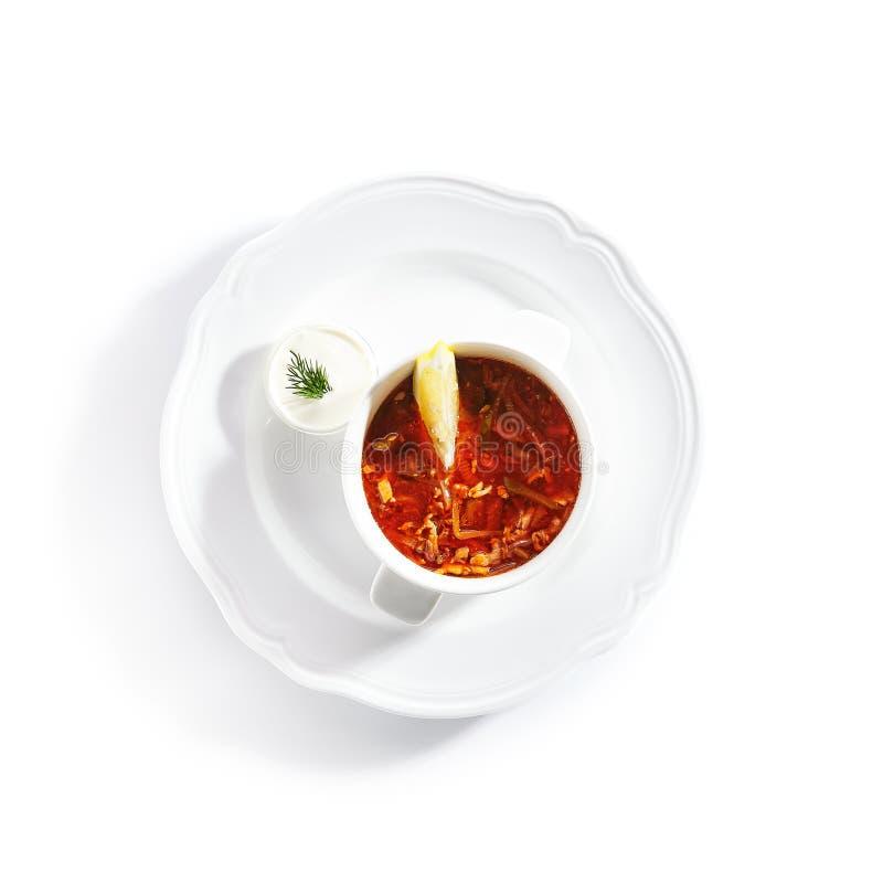 Meat Solyanka, Soljanka or Saltwort Soup Isolated stock image