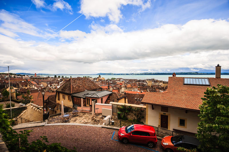 Top view of the medieval town Neuchatel with Lake Neuchatel and the Bernese Alps Chaumont seen on the horizon.  stock images