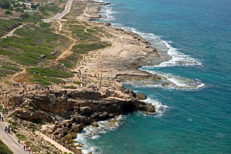 Coast of the Mediterranean Sea in the Rosh Hanikra area. Top view on the Mediterranean coast in the Rosh Hanikra area stock images