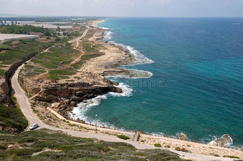 Coast of the Mediterranean Sea in the Rosh Hanikra area. Top view on the Mediterranean coast in the Rosh Hanikra area royalty free stock photography