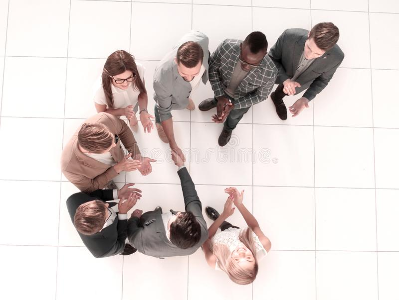 Top view. meeting business partners in the office stock photo