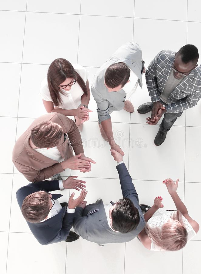 Top view. meeting business partners in the office stock photos