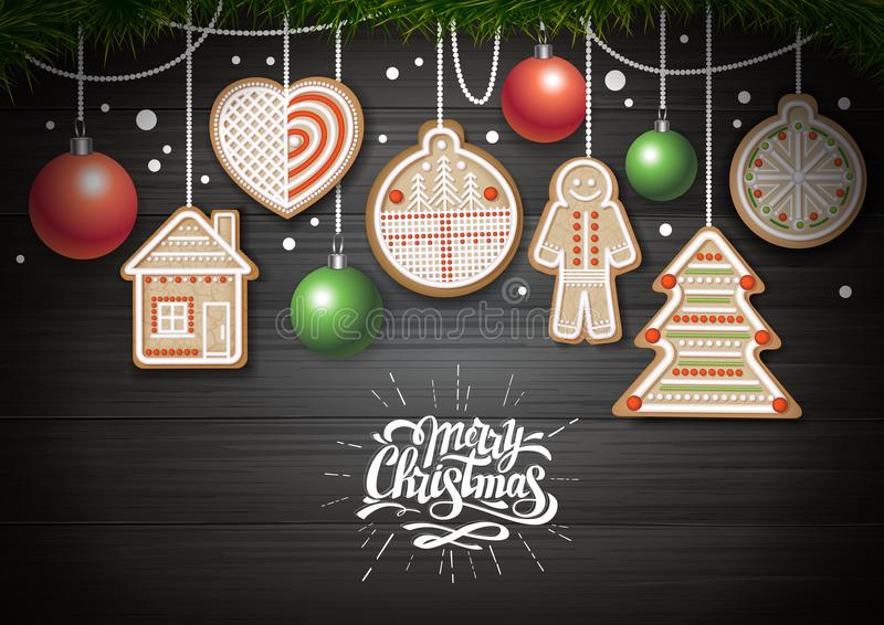 Top view of Merry Christmas concept design. Holiday cookies on wooden background. Christmas food royalty free illustration