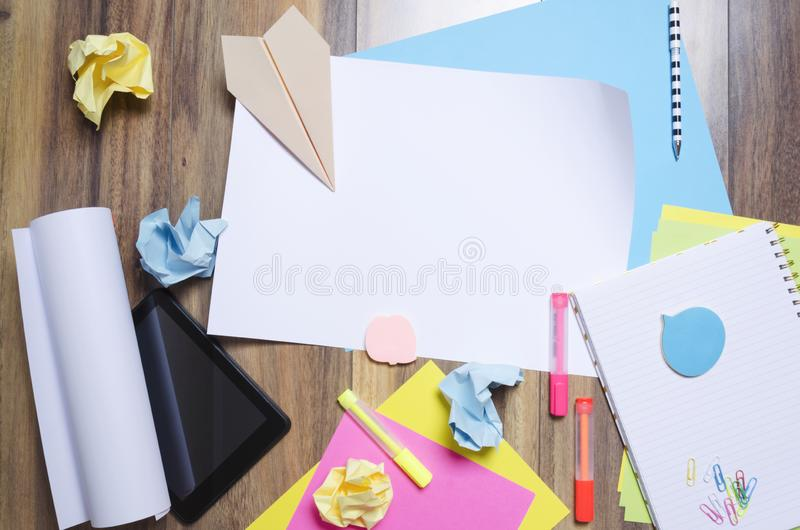 Top view of messy floor during brainstorm.Concept of making new business starup.Blank sketch for your design royalty free stock images