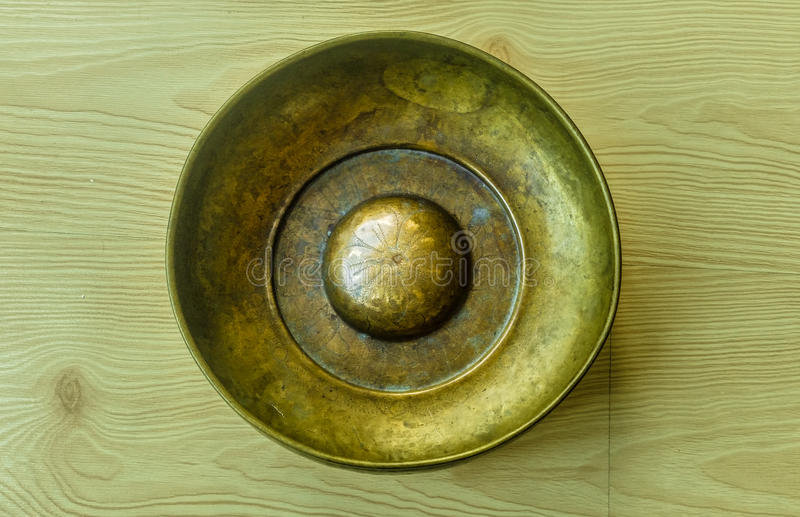 Top view of metal bowl. Top view of an old metal bowl stock image