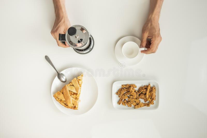 Top view of minimalistic table with business lunch with coffee, stock photo