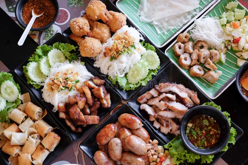 Mixed Asian food, Vietnamese and Thai food. royalty free stock images