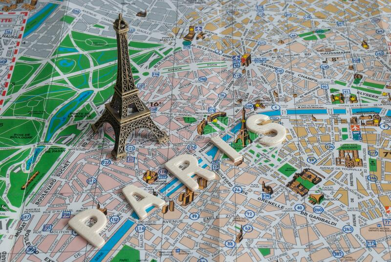 Top view of mockup of the Eiffel tower on Paris map stock images