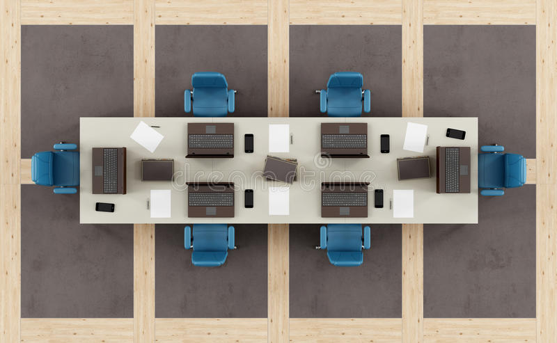 Download Top View Of A Modern Boardroom Stock Illustration
