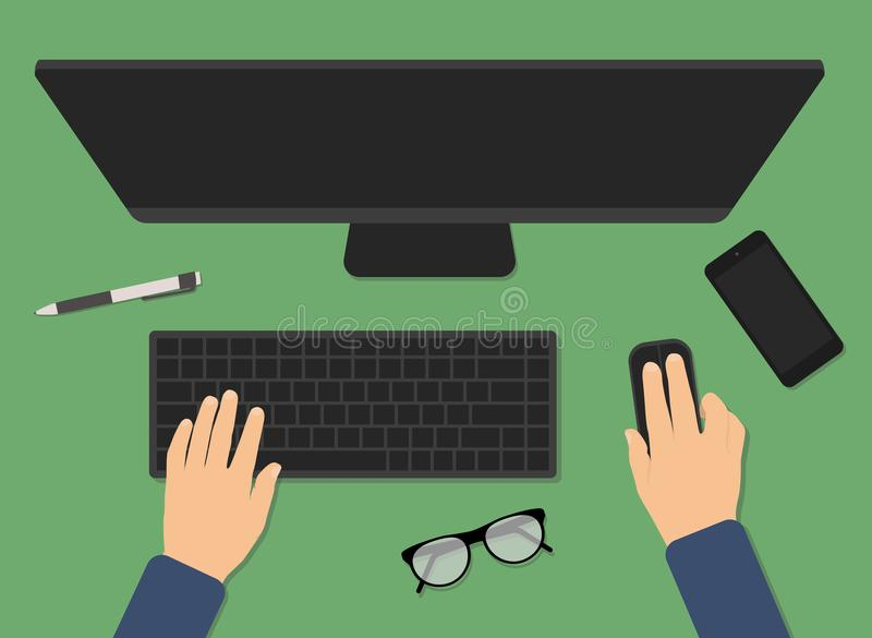 Top view of modern business office desk royalty free illustration