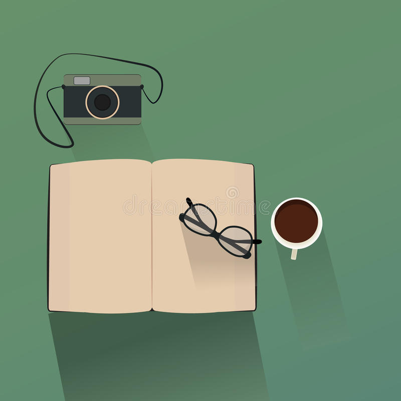 Top view of modern camera book and coffee cup. vector. Top,camera,photo,view,old,photography,cafe,warm,table,milk,copy,spring,red,coffee,brown,cacao,cup,summer royalty free illustration
