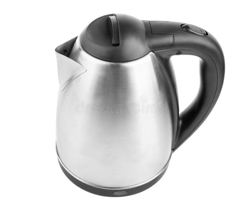 A top view of a modern kettle isolated on a white background. A black and metal kettle. A new kitchenware. Electric utensil. royalty free stock photography