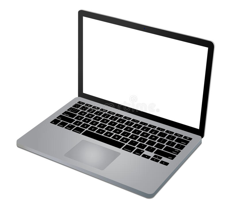 Top view of modern laptop stock illustration
