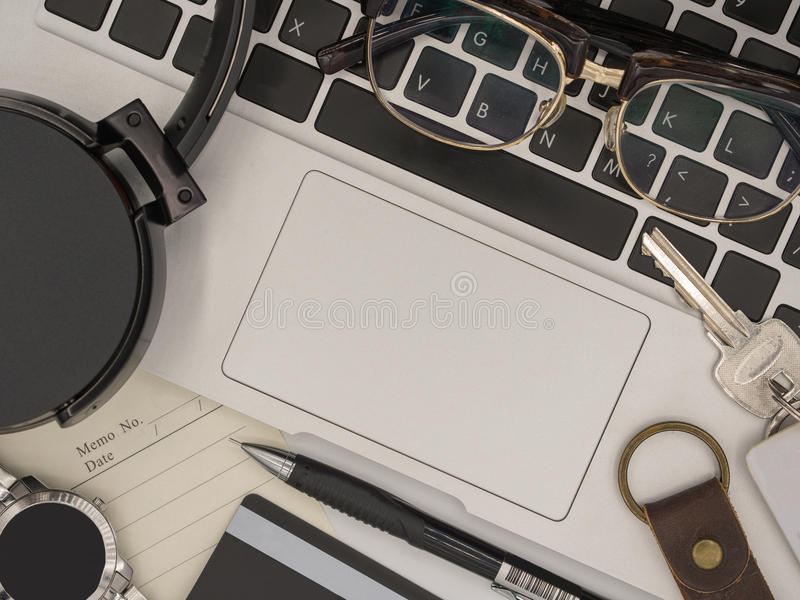 Top view of a modern laptop computer with memo paper, pencil, sm royalty free stock images