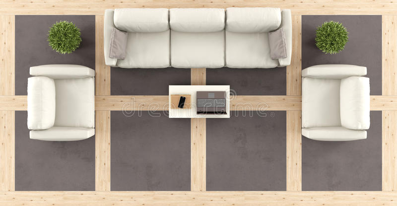 Top view of a modern living room vector illustration