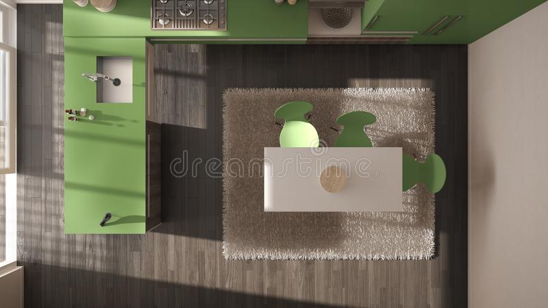 Top view, modern minimalistic wooden kitchen with dining table and carpet, green and gray architecture interior. Design stock illustration