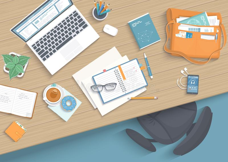 Top view of modern and stylish workplace. Wooden table, armchair, office supplies, laptop, books, notebook. vector illustration