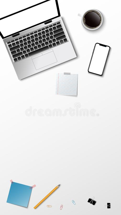 Top view of modern workplace, laptop coffee paper note pencil on the white background and copy space for text, business concept,. Vector illustration royalty free illustration