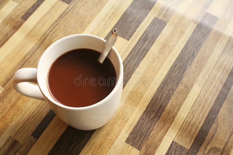 Top view morning coffee. Close up Top view morning coffee royalty free stock photography