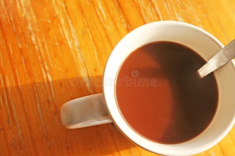 Top view morning coffee. Close up Top view morning coffee royalty free stock photos