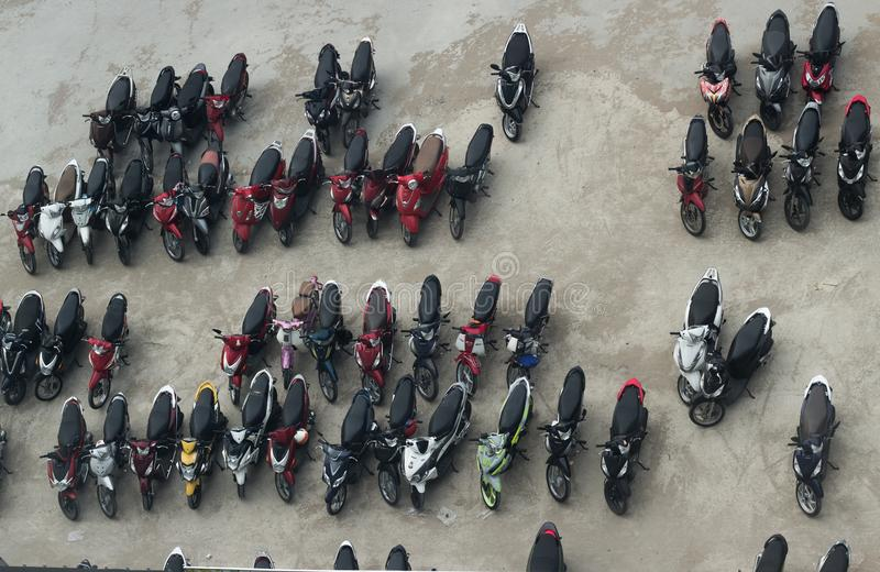 Top view of mororbike parking lot, asian style stock photography