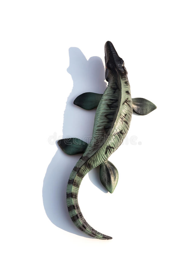 Top view Mosasaurus toy with shadow on white stock photography