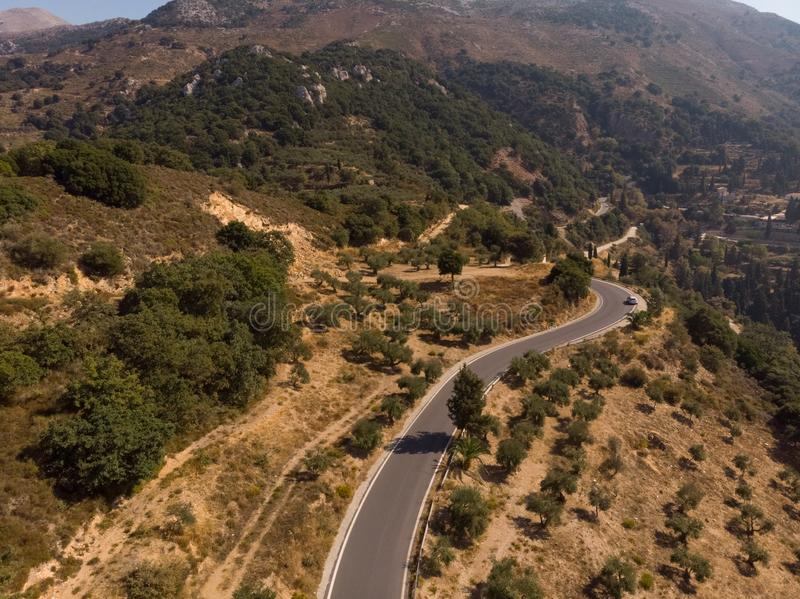 Top view of the mountain road. Aero photography. stock images