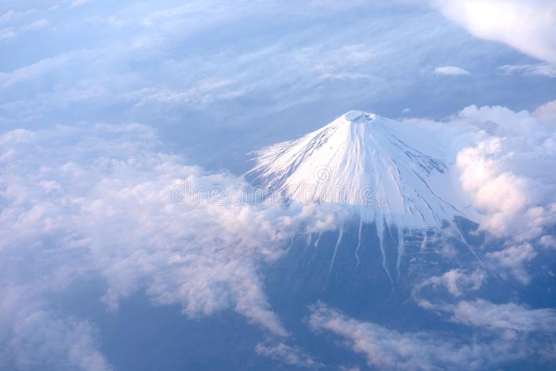 Top view. Beautiful Mt Fuji sky view form airplane. Wonderful image. stock image
