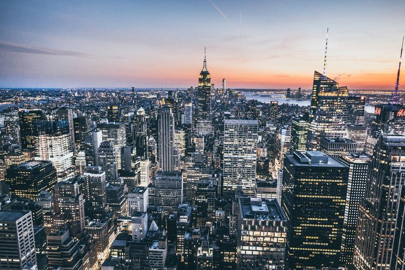 Top view of New york city in sunset time royalty free stock photos