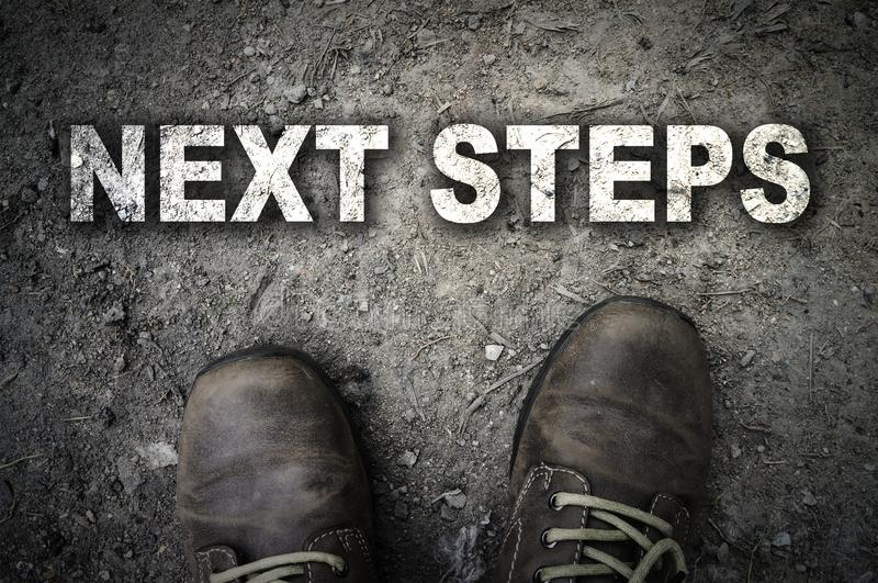 Top View of Next Steps text with the boot stock photos