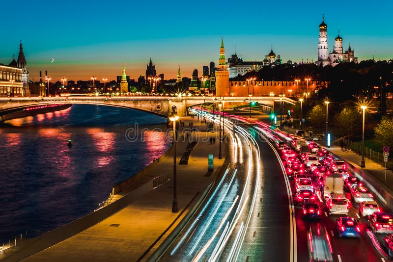 Top view of night wintry Moscow, the Kremlin, Big Stone bridge and Prechistenskaya embankment and Moscow river, Russia stock image