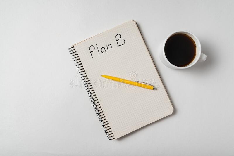 Top view of the Notepad with the words Plan B and a cup of coffee. Backup plan ideas royalty free stock images