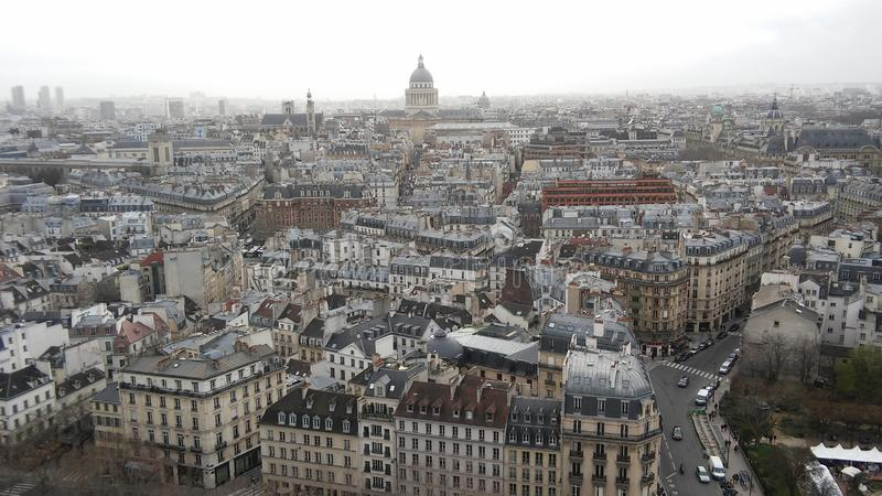 Nice wide city view of Paris from above Notre Damme Cathedral stock image