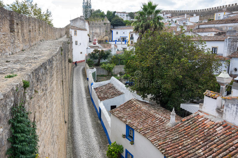 Top view of Obidos. View of castle in the medieval town of Obidos in Portugal stock photos
